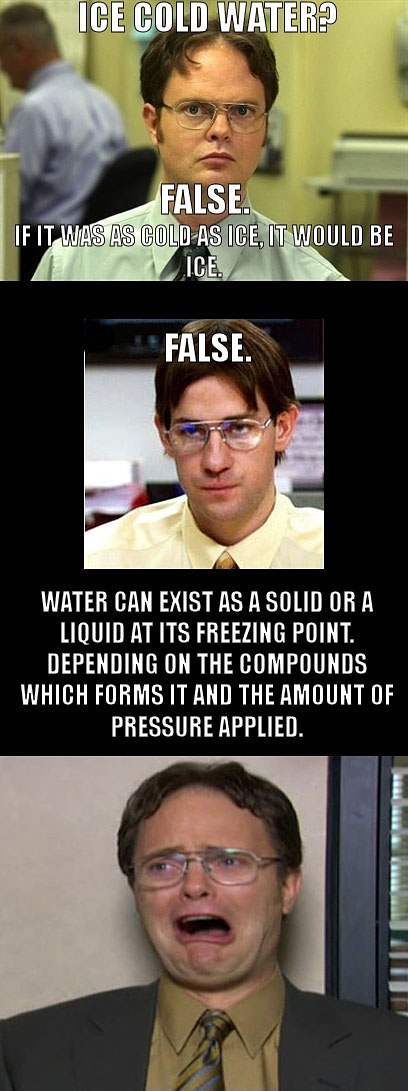 Ice Cold water False, Once Dwight Schrute Has Failed As A Logical Thinker