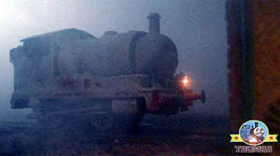 Haunting Percy the tank engine covered in white dust arrived outside an engine shed peep peep Thomas
