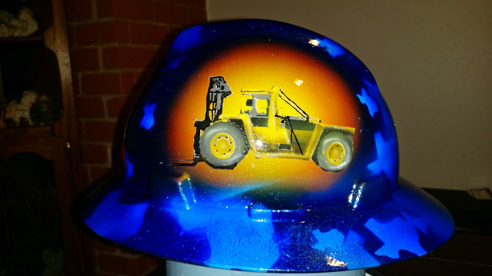 Lone Star texas flag custom hard hat with forklift