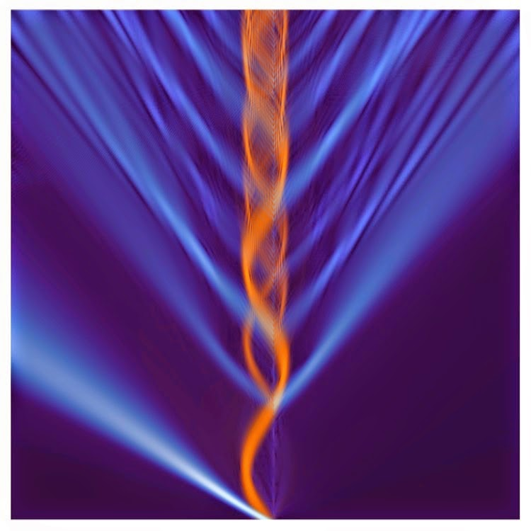 Orange waves and blue rays represent the effect of quantum evaporation. Credit: University of Kansas / KU News Service
