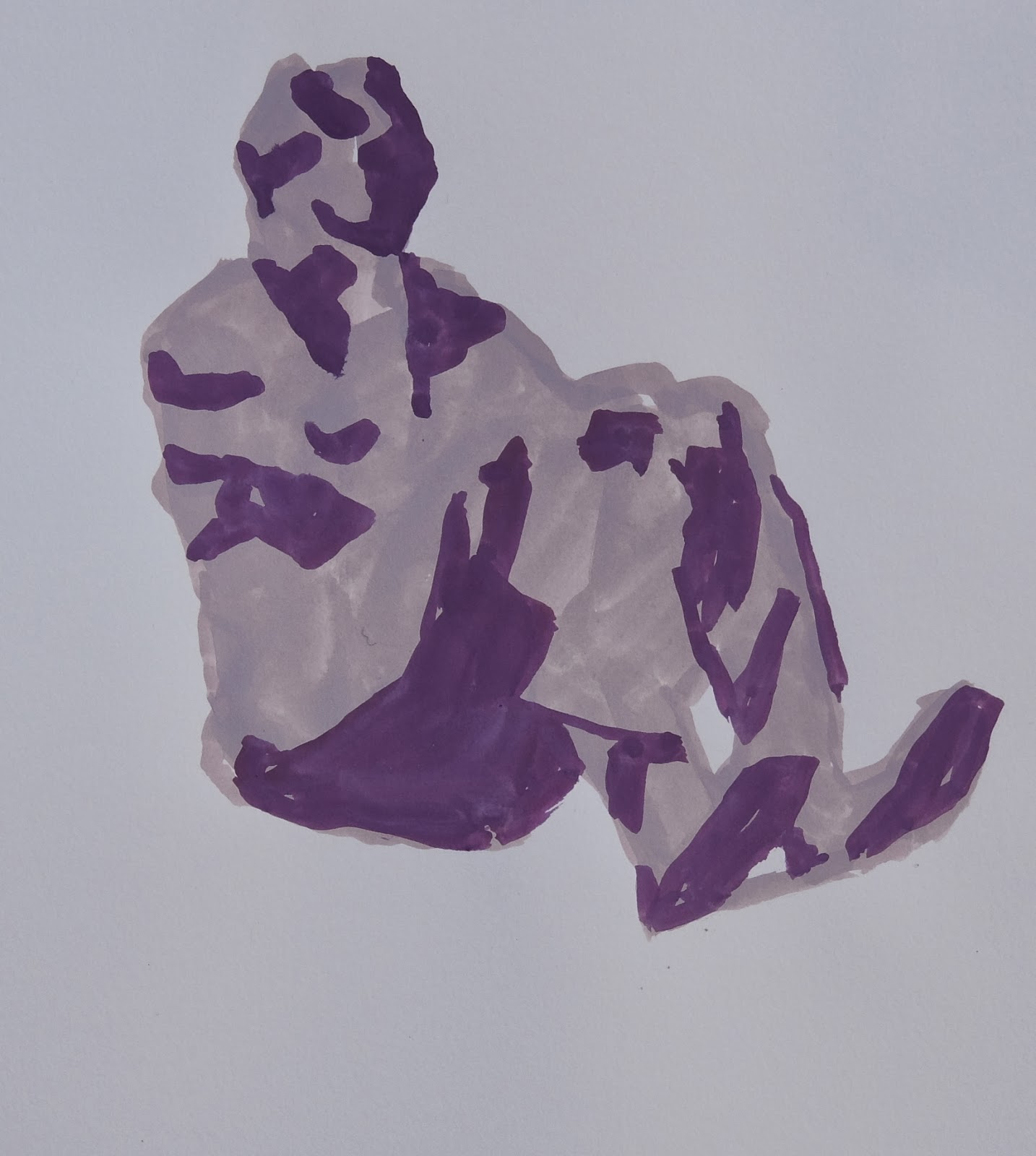 Peggi Kroll Roberts, Figure with Feet Propped, Gouache Painting, Original Art