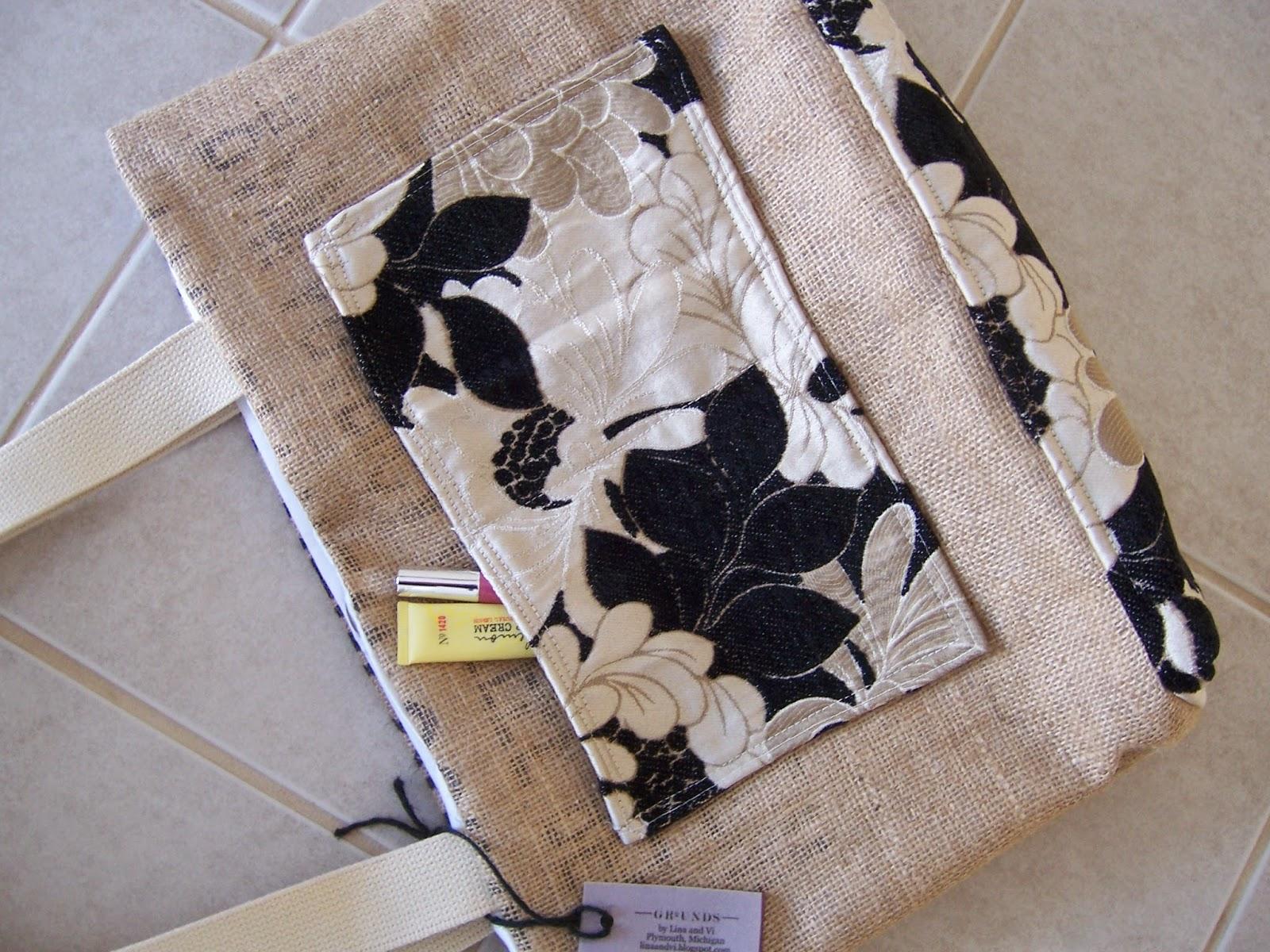 Clean Sound and New burlap tote bag - top view - linaandvi.blogspot.com