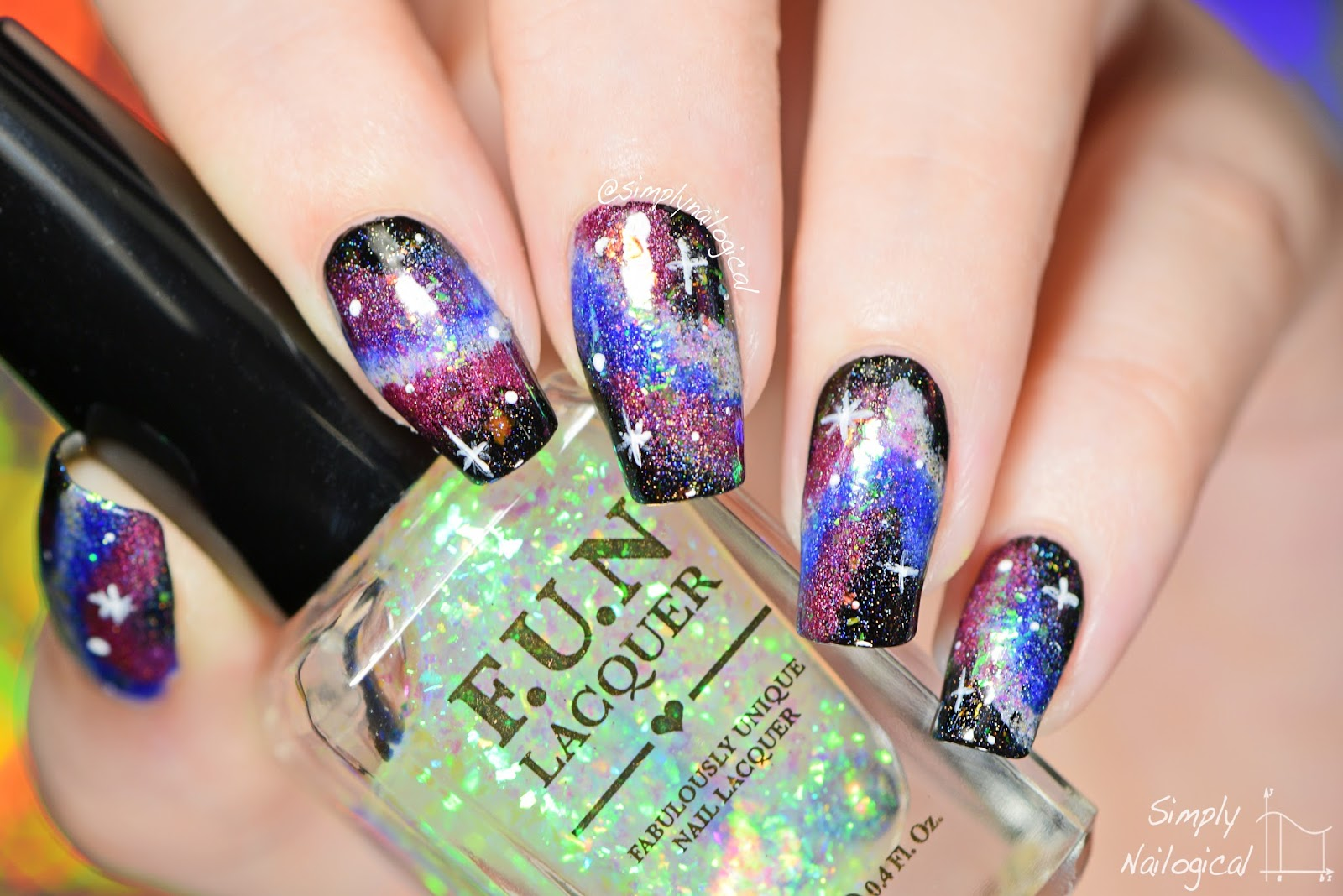 Galaxy Nail Art With Holo And Flakies