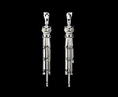 950 Platinum Earrings Set With Princess Cut Diamonds Pierced Ears Style Price 10001 50001 Rmb Cartier Panthere