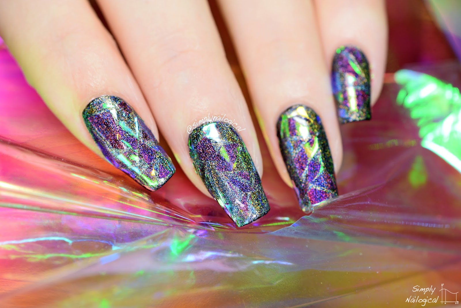 Holographic Shattered Glass Nails So Badass Rn