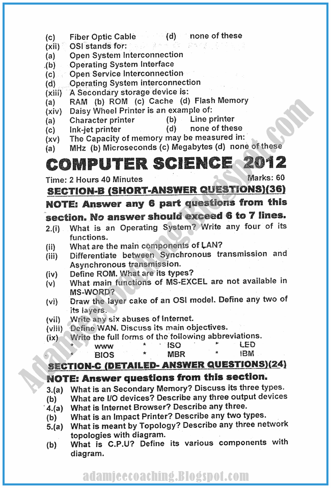 Computer-science-2012-past-year-paper-class-XI