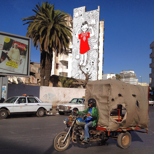 After Italy a few days ago, Millo is now in North Africa where he just finished working on a new piece on the streets of Casablanca in Morocco.