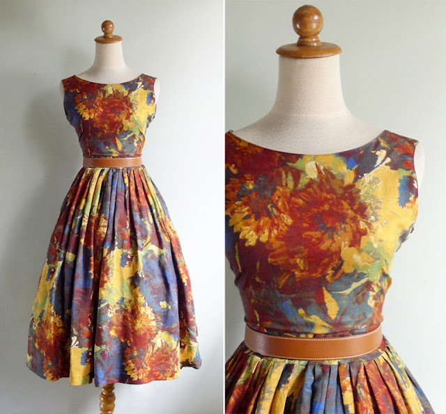 vintage 1950's abstract fall dress