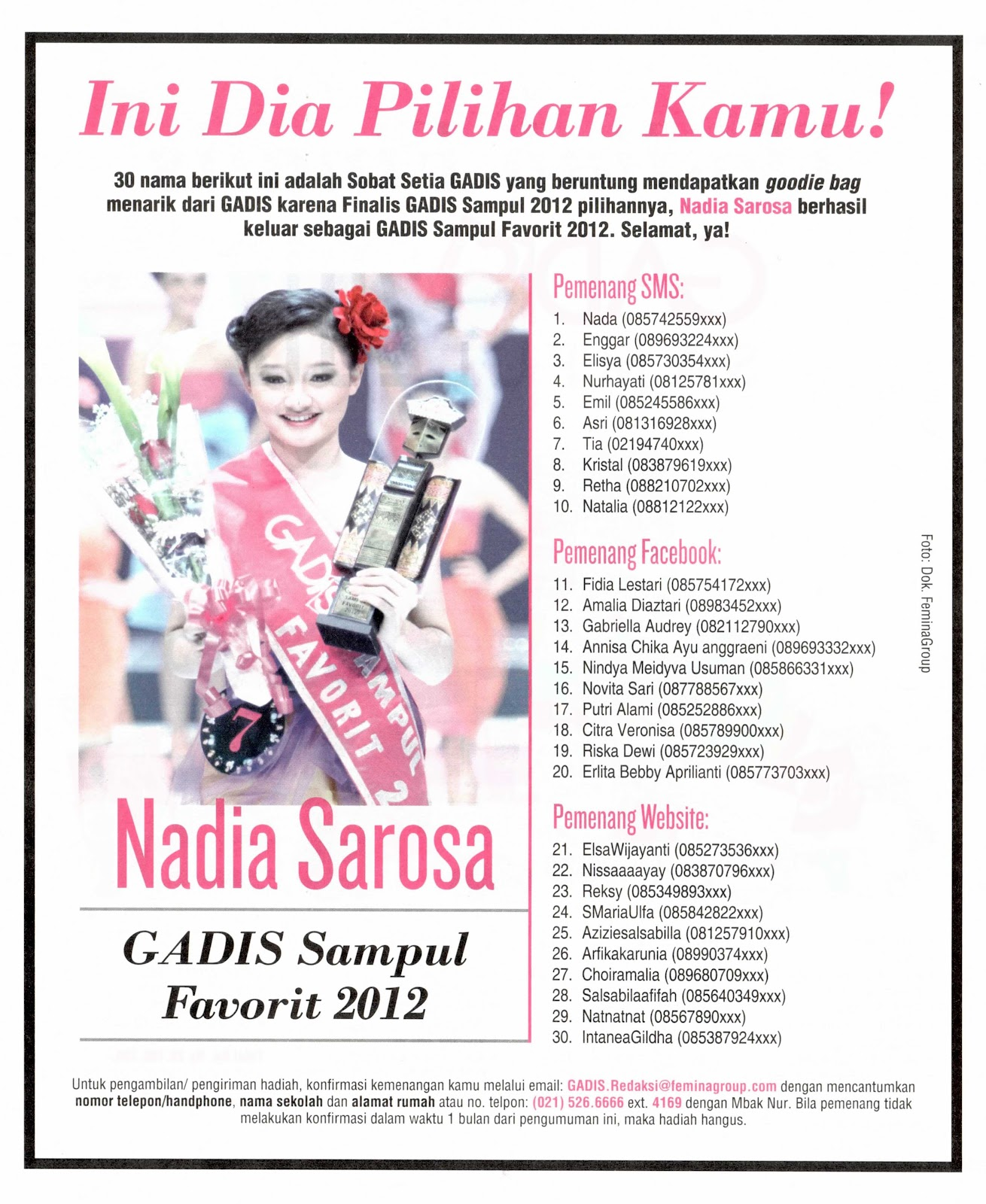 Pemenang Voting Gadis Sampul Favorit 2012