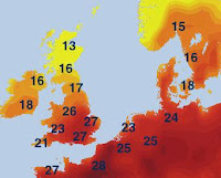 temperature's map |weather Europe- Travel europe
