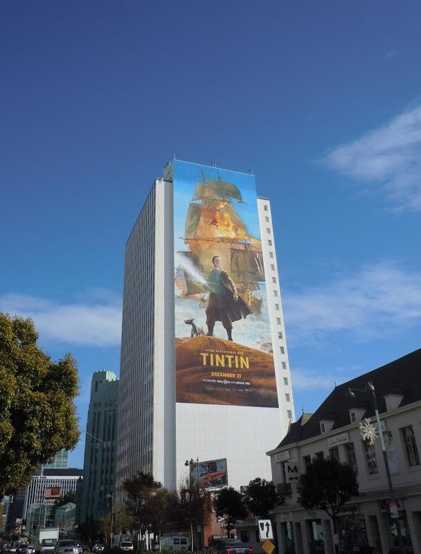 Giant Tintin movie billboard