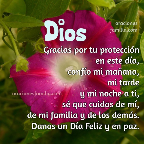 Frases de gracias a Dios en este día, oración corta para la mañana, dame fuerzas, imagen cristiana oración por Mery Bracho