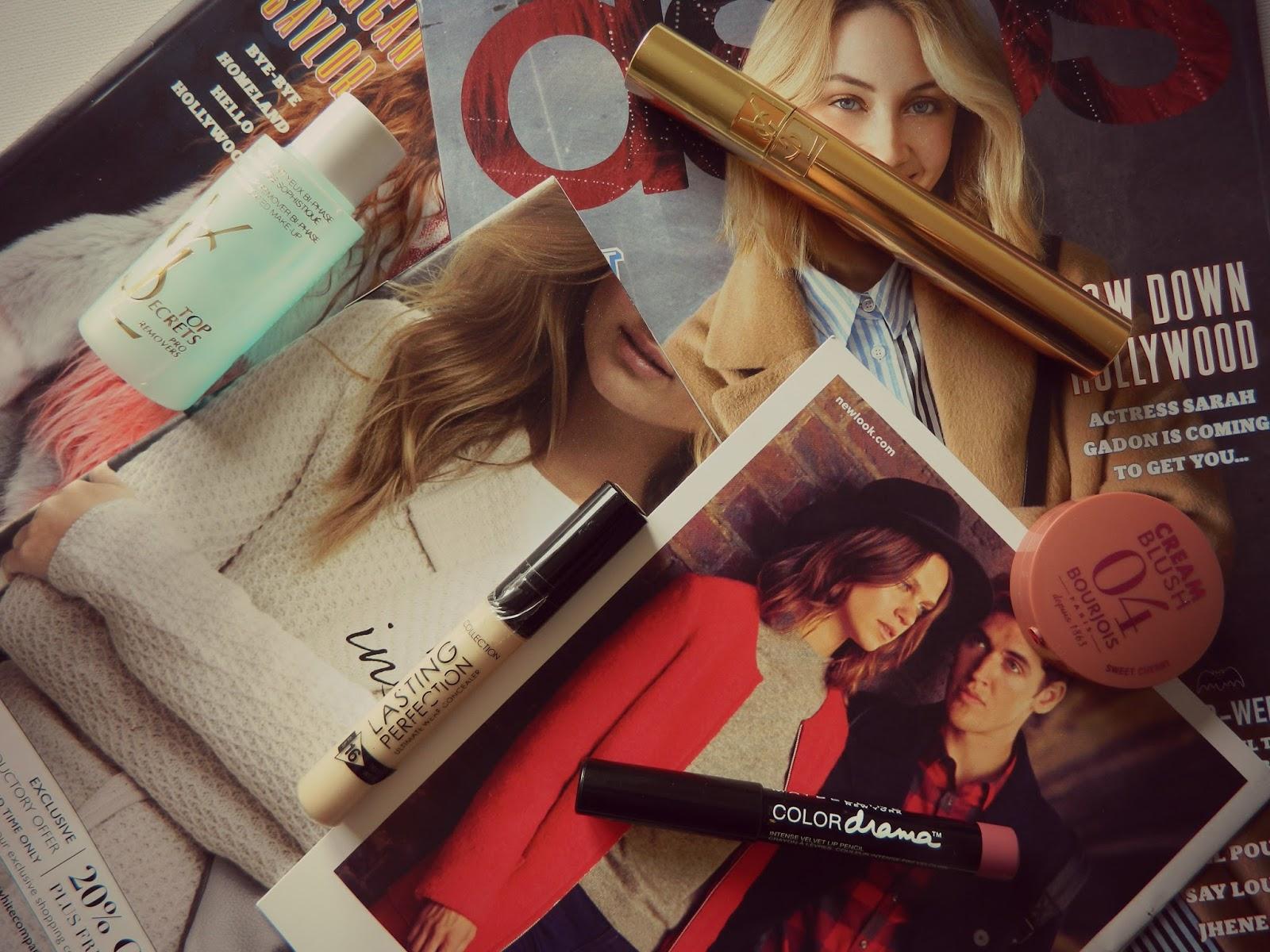 Maybelline Color Drama lipstick, YSL mascara, Bourjois cream blush makeup purchases
