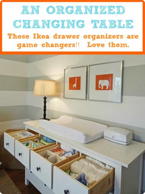 Simple nursery ideas : Dresser changing table organization