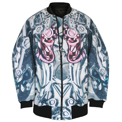 ktz watch gear print oversized bomber jacket