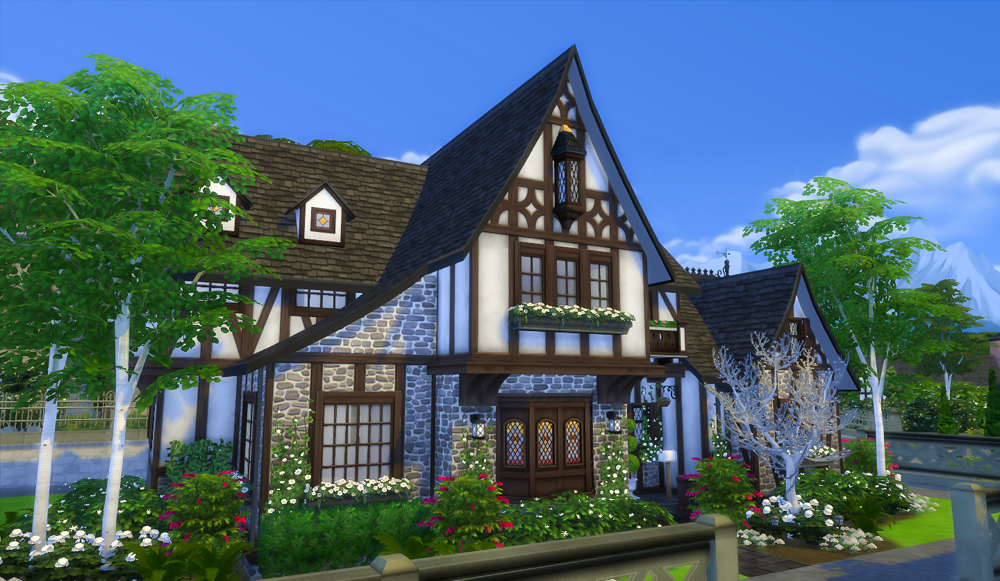 Simsational designs the burrow a tudor house for windenburg for Tudor house