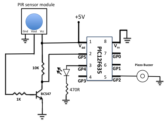 enginnering hobby projects  motion sensor using pir sensor module with pic microcontroller and