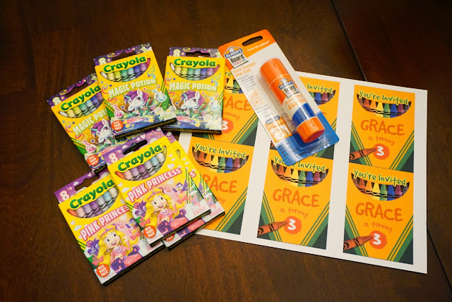 crayola, crayola crayons, elmers glue, art party invites, Gracie's Art Party, DIY Art Party, DIY, pinterest, Art Party Invitations