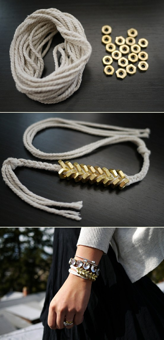 Diy : braided hex nut bracelet