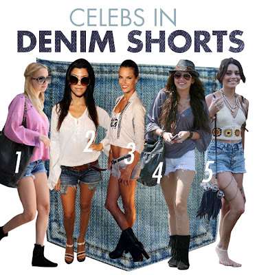 Celebs+in+denim+shorts