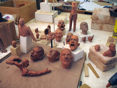 Studio Shot: work table with terra cotta maquettes - Bob Trotman, 2012, Photo courtesy of the artist