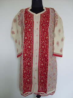 Red Cream Lucknowi Kurti online