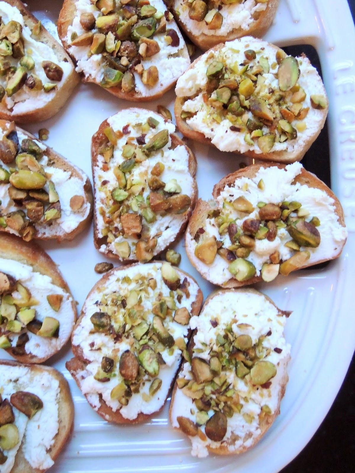 Goat cheese and pistachio crostini