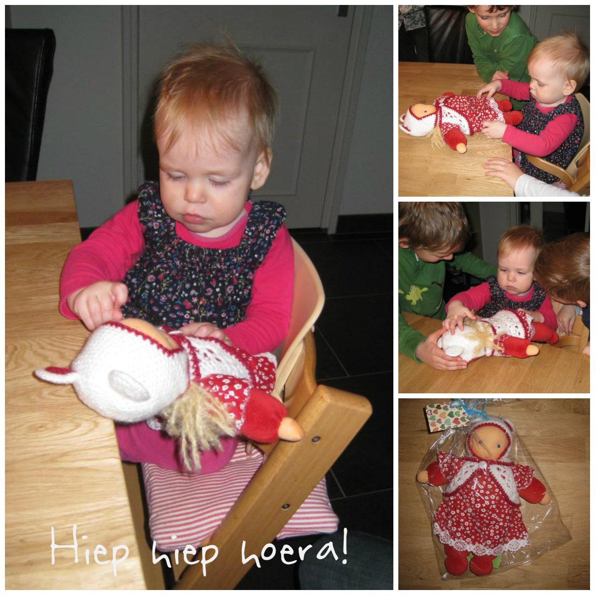 Hiep hiep hoera, een knuffelpop voor onze 1 jarige