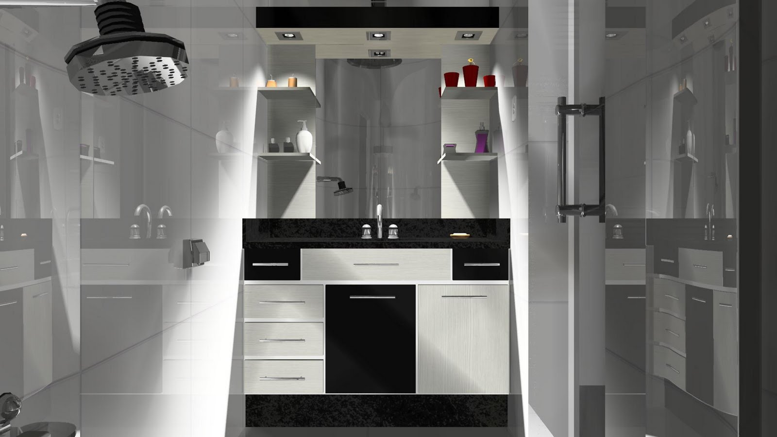Espaço Nobre Design: Balcão de Banheiro (Preto Malago Ciliégio  #613C5F 1600x900 Balcão Para Banheiro Bosi