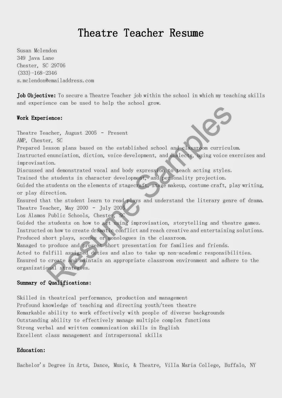 resume samples  theatre teacher resume sample