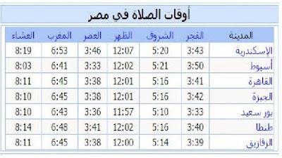 مواقيت الصلاة فى مصر والدول العربية غدا الجمعه 2015/8/7