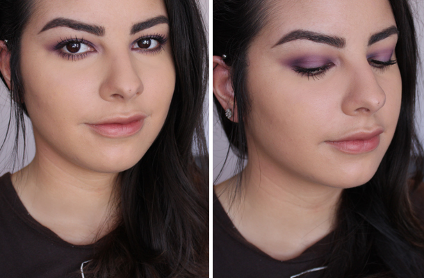 nyx taupe sleek ultra matts v2 palette eyeshadow look makeup tutorial purple smokey eye fotd