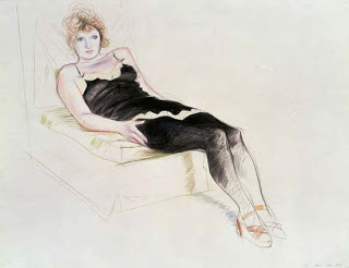 Celia in a Black Slip Reclining, Paris Dec, 1973 David Hockney
