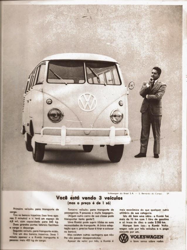 Propaganda da Kombi nos anos 60 em promoção da sua capacidade interna e potência de motor.