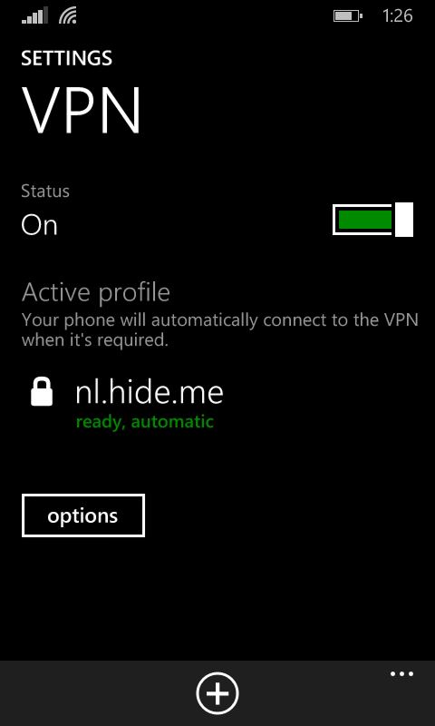 VPN on windows mobile 8.1