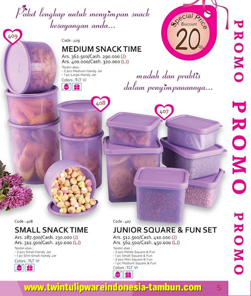 Promo Diskon Tulipware Februari 2016, Medium Snack Time, Junior Square Fun Set