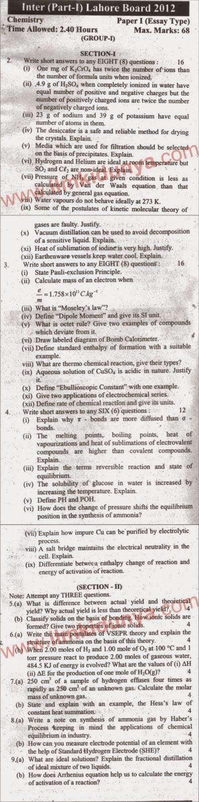 Lahore Board Chemistry Inter Part 1 Past Paper 2012 Subjective Group 1
