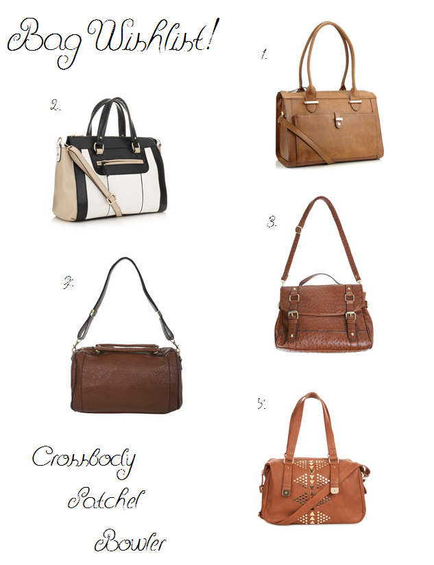 Selection of wishlist bags inclduing crossbody, satchel and bowler.