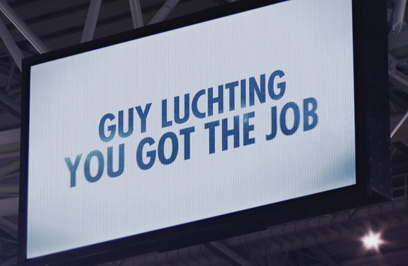 A video on the big screen announces at the Juventus Stadium that Guy Luchting has got the job