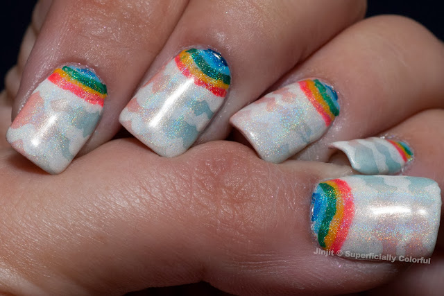 Gradient with Pattern Nail Art Holographic