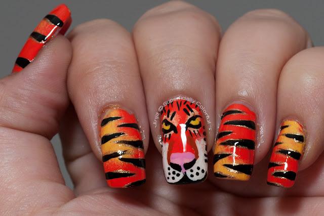 Orange Tiger nail art