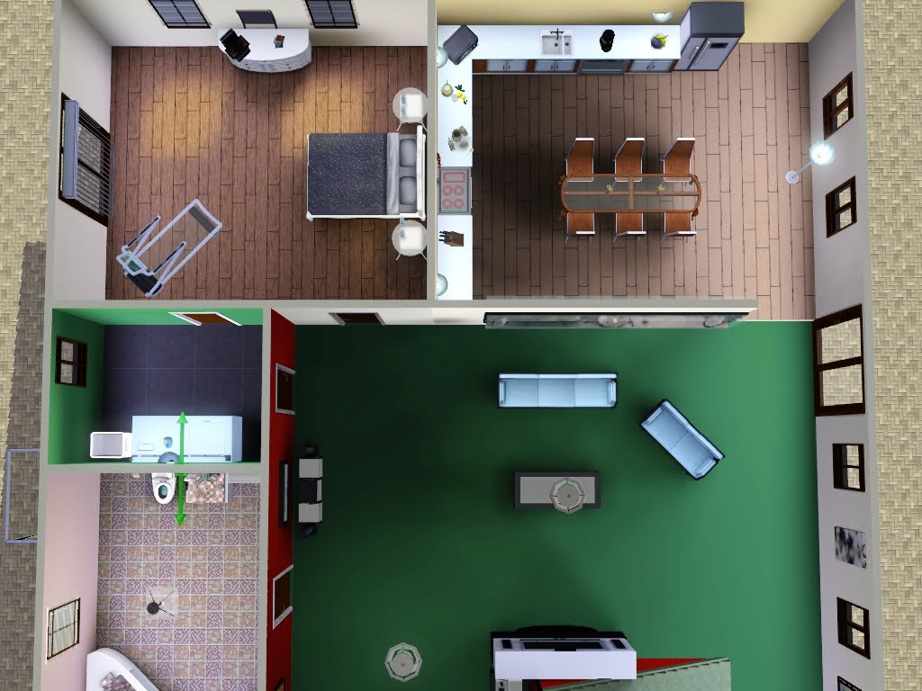 Kiki koy 4 the sims casa 2 piani 4 camere 2 bagni piscina for 2 bagni piccola casa