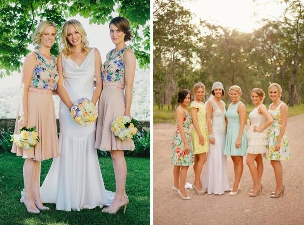 Print Bridesmaids Dresses