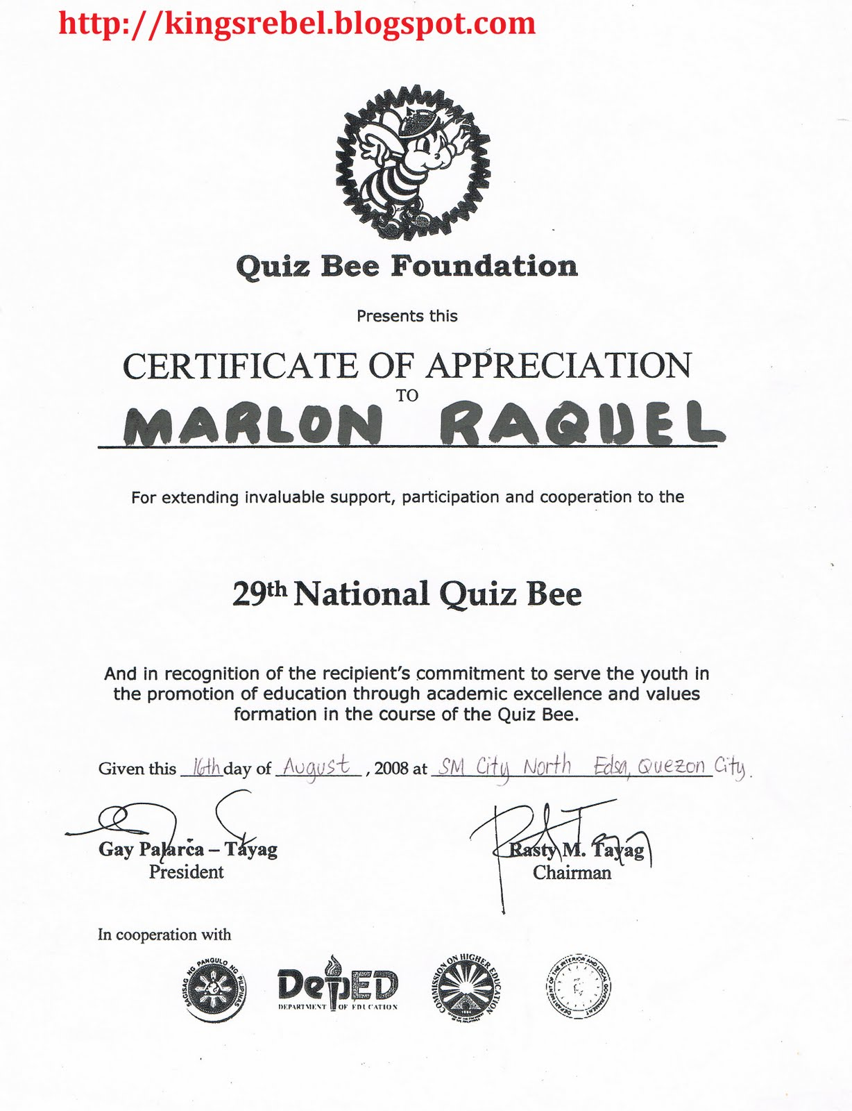 Tidbits and bytes example of certificate of appreciation 29th tidbits and bytes example of certificate of appreciation 29th national quiz bee yelopaper Image collections