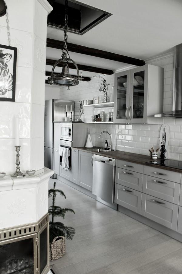 industrikök, industrial kitchen, interior, interiör, inredning, planera kök, hth kök, gråa köksluckor, vit parkett, plankgolv, rostfria detaljer, köksplanering, industrilampa, taklampa, vitrinskåp i köket, vägghängt skåp, fläkt, rostfritt, kakelugn, vitt, tavla, balkar i taket, rostfria maskiner i köket, vitt kakel, industri,