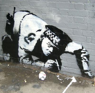 banksy graffiti street art cop snorting