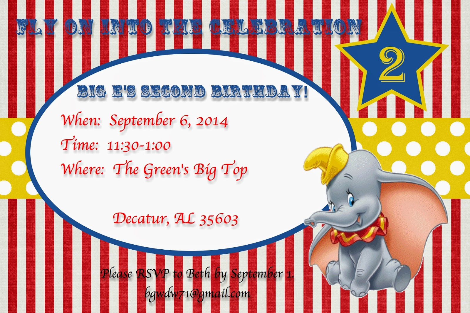 A Disney Mom\'s Thoughts: Dumbo Birthday Invitation