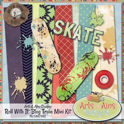 "Free scrapbook blog train ""Roll With It"" from Arts and Ains designs"