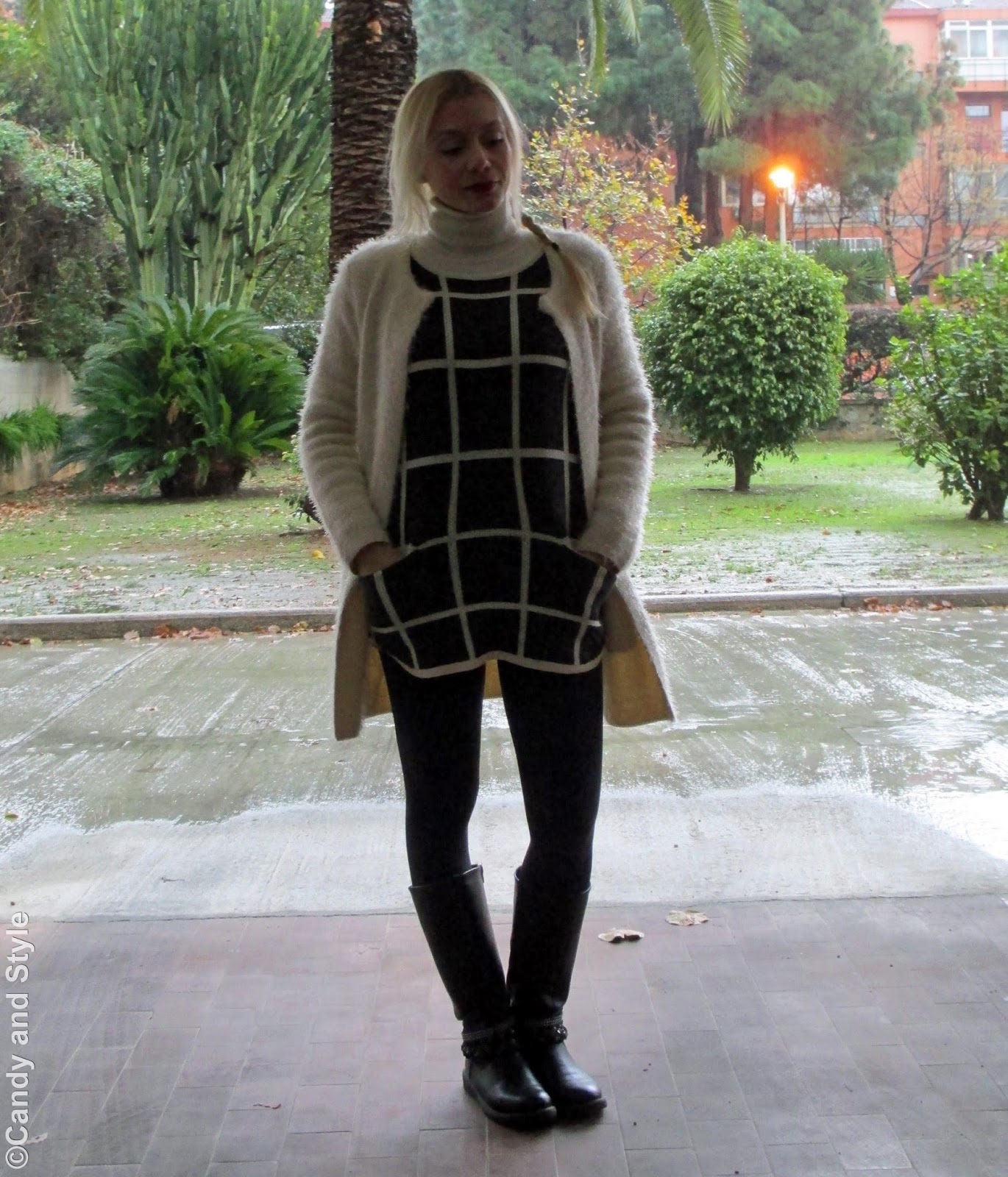 FuzzyJacket+PlaidSweater+Leggings+Bikers+Braid - Lilli Candy and Style Fashion Blog
