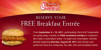 Chick-fil-A Free Breakfast on Sep. 6~10, 2011
